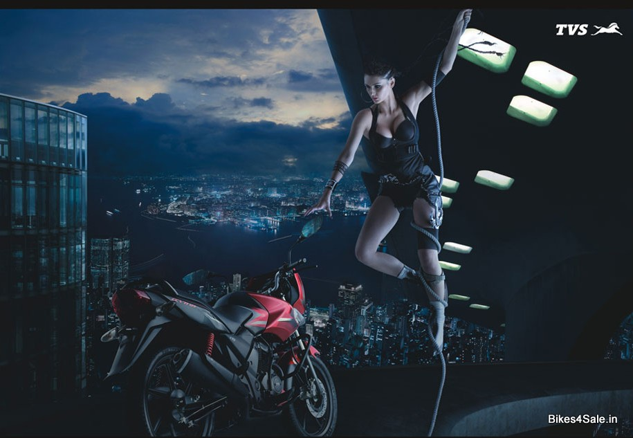 Indian Biker Girl with TVS Flame
