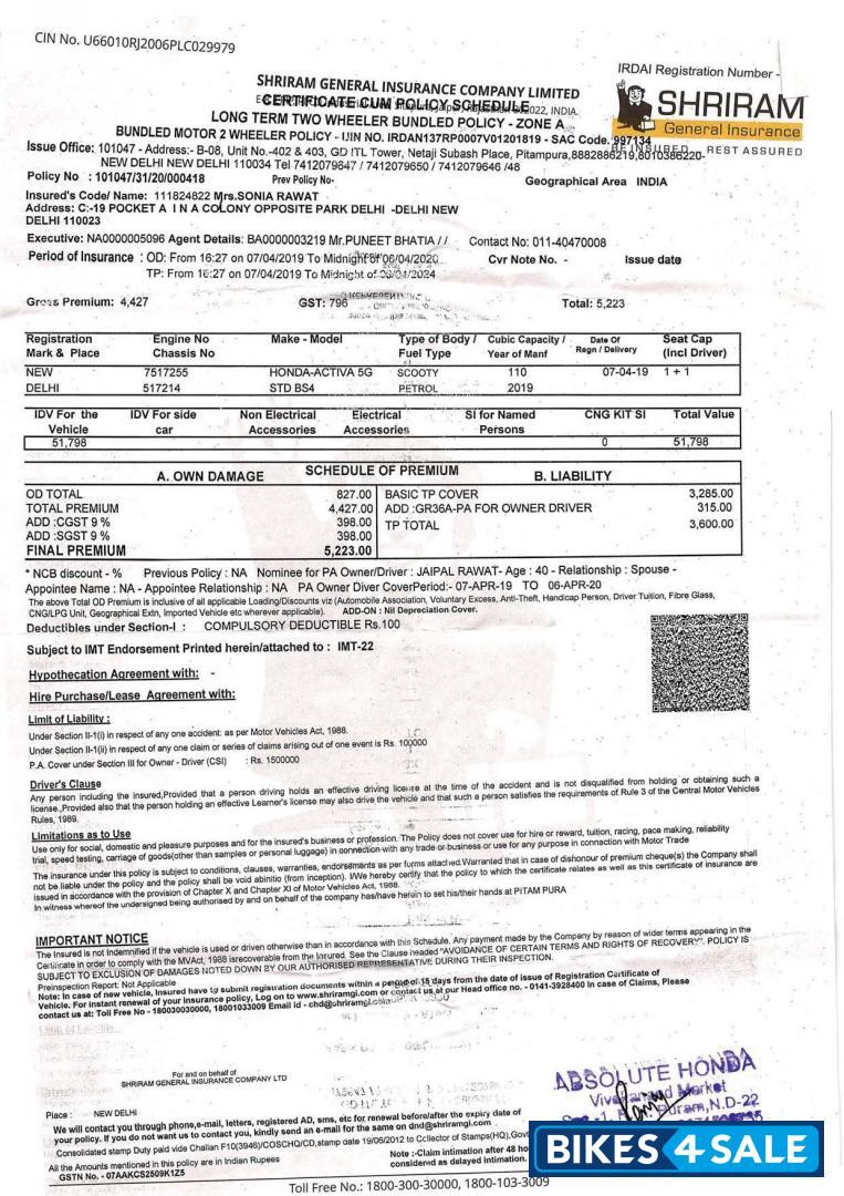 Used 2019 Model Honda Activa 5g For Sale In New Delhi Id 260881