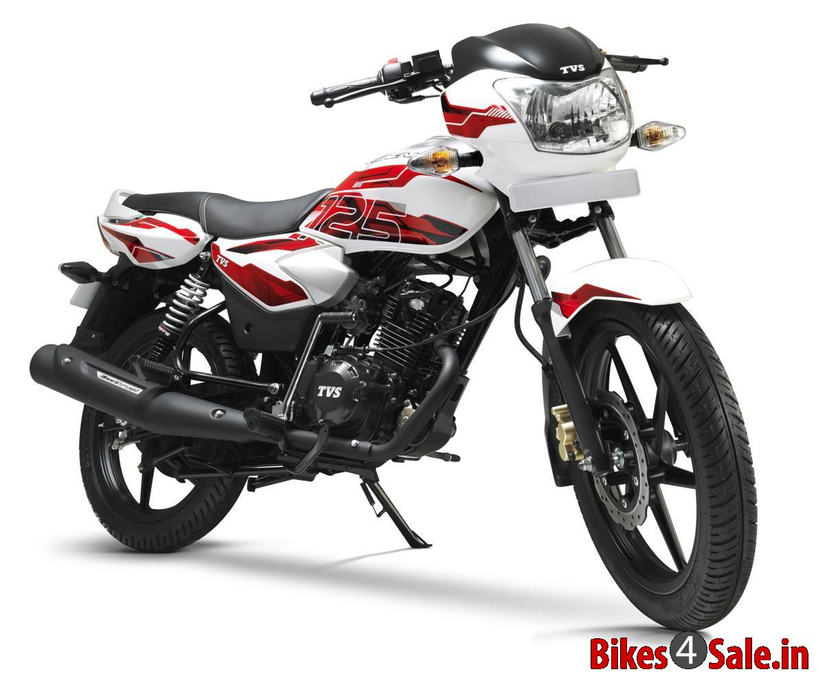 TVS Phoenix 125 in dual tone Alpine White with red sporty graphics