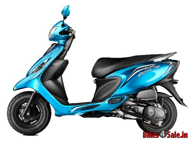 Terrific Turquoise Blue Colour Tvs Scooty Zest Scooter