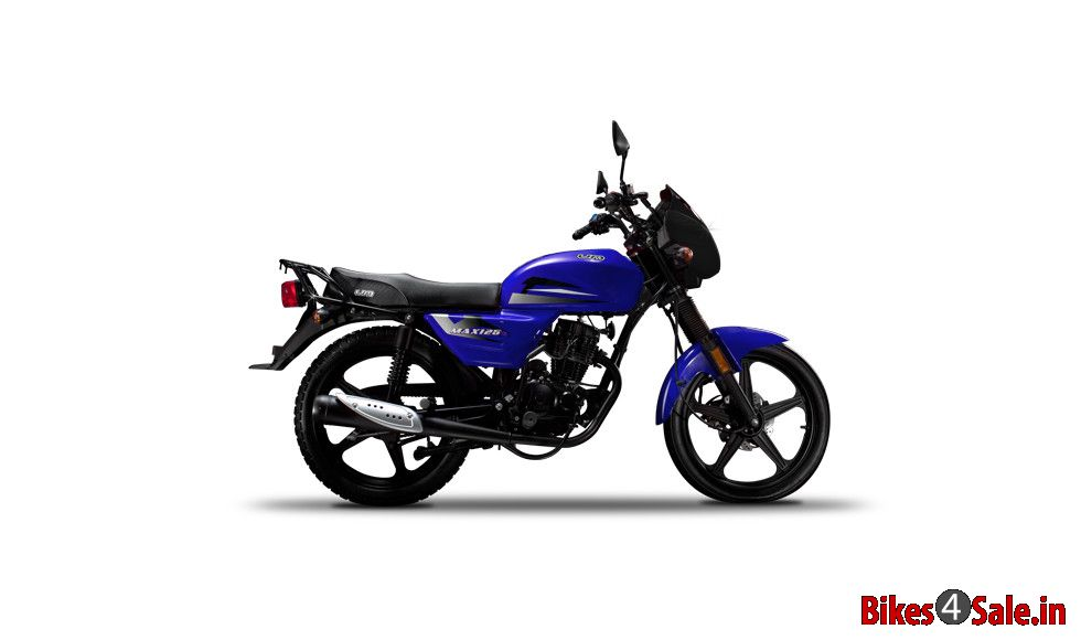 um max 150 motorcycle picture gallery  picture shows the side view of blue color