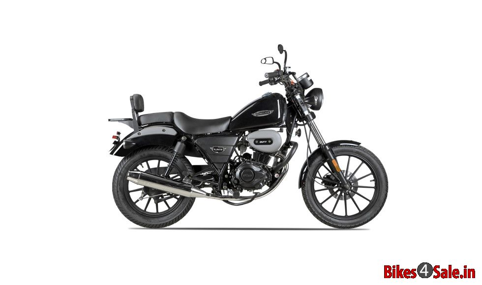picture showing the side view of renegade duty 150 of black color  um renegade