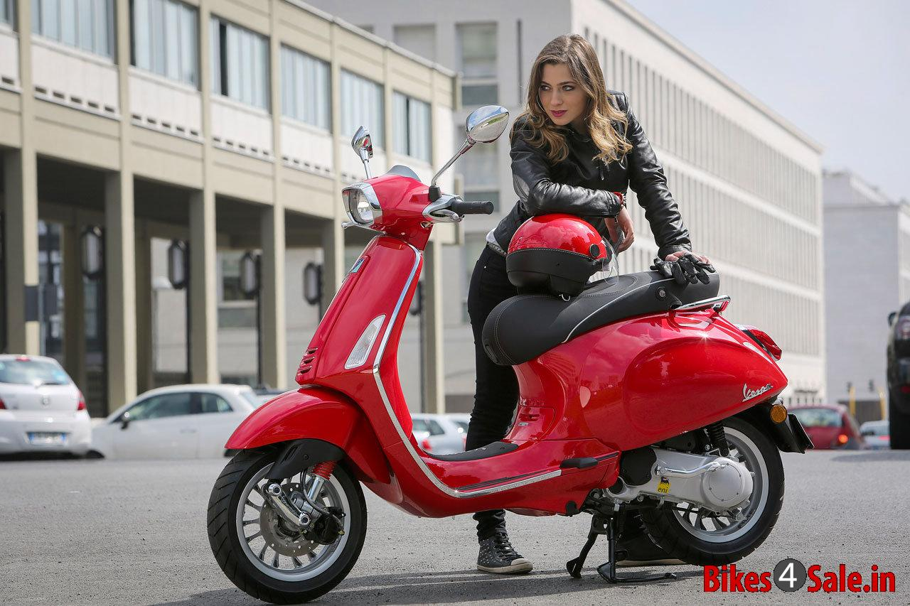 Picture Showing The Red Colored Vespa Sprint 125 Vespa