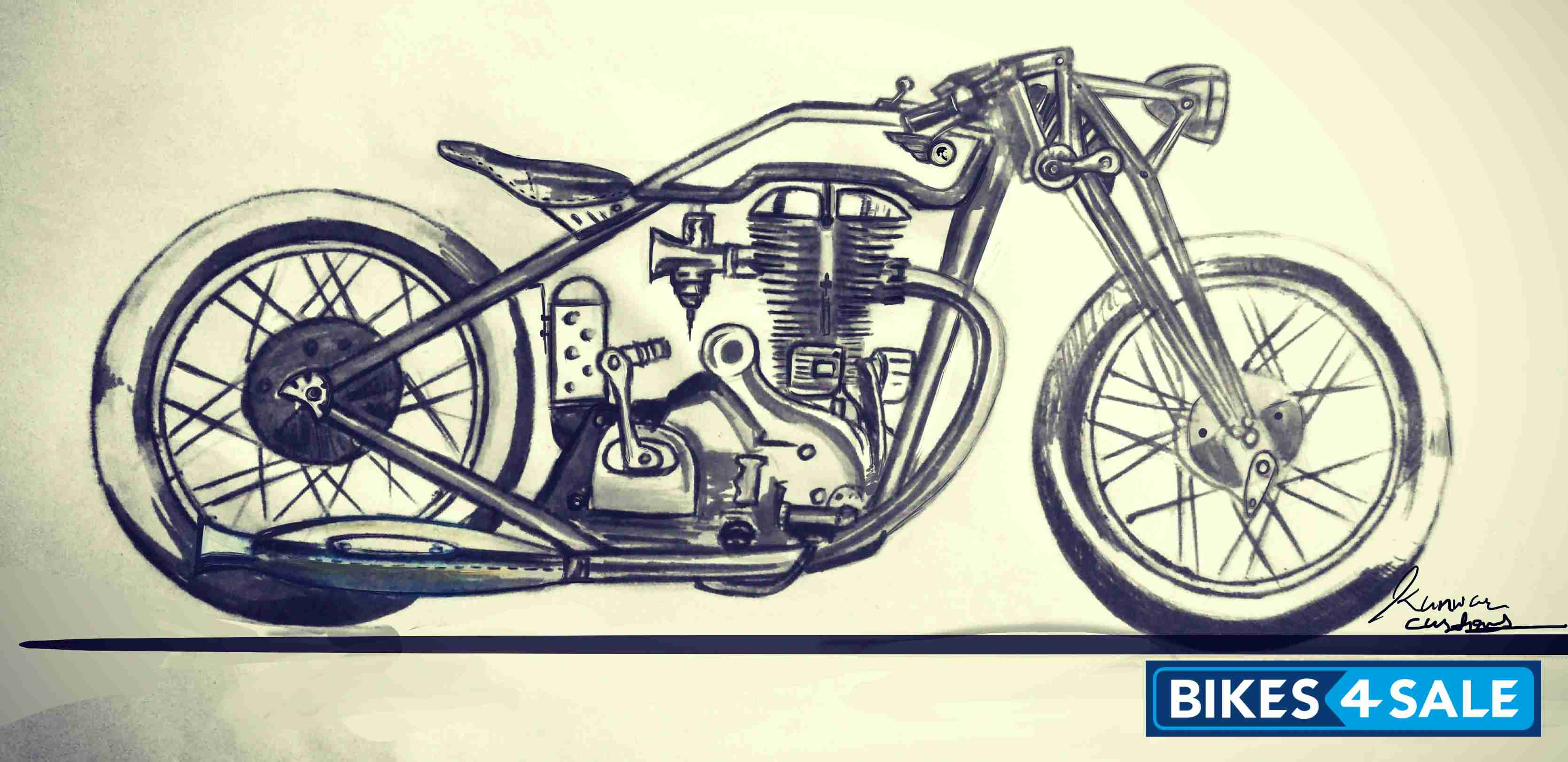 Custom Motorcycle Design Sketch