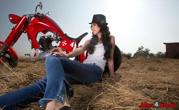 Biker girl with Transfigure Custom Motorcycle