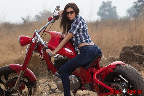Biker girl with Transfigure Custom Bike