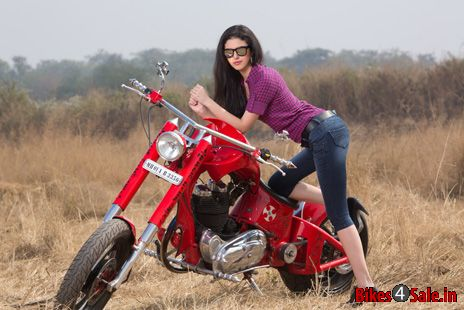 Biker girl with Chopper motorcycle