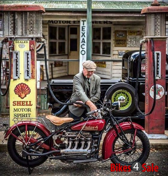Indian Four Motorcycle Filling Petrol