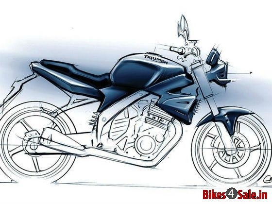 Sketch of upcoming Triumph 250cc bike for India and Asia